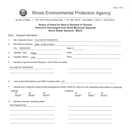 Notice of Intent For New or Renewal of General Permit